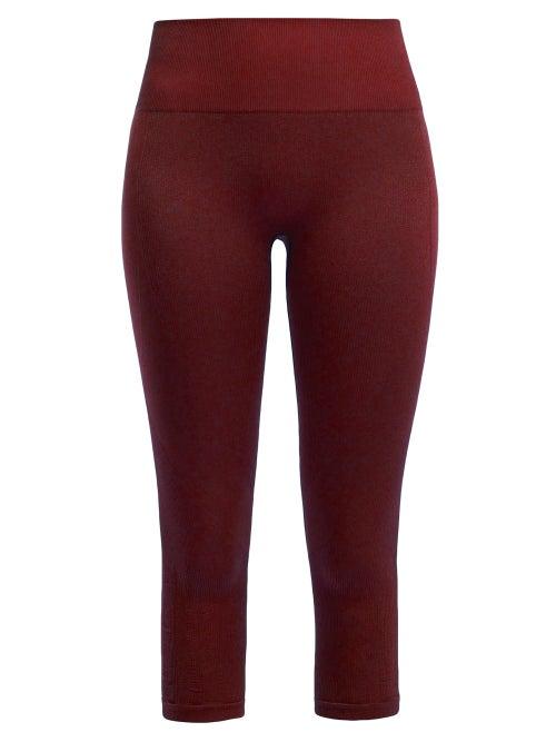 Pepper & Mayne | Pepper & Mayne - Margot Cropped Rib-knit Leggings - Womens - Dark Red | Clouty