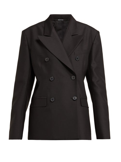 Maison Margiela | Maison Margiela - Double Breasted Wool And Silk Blazer - Womens - Black | Clouty