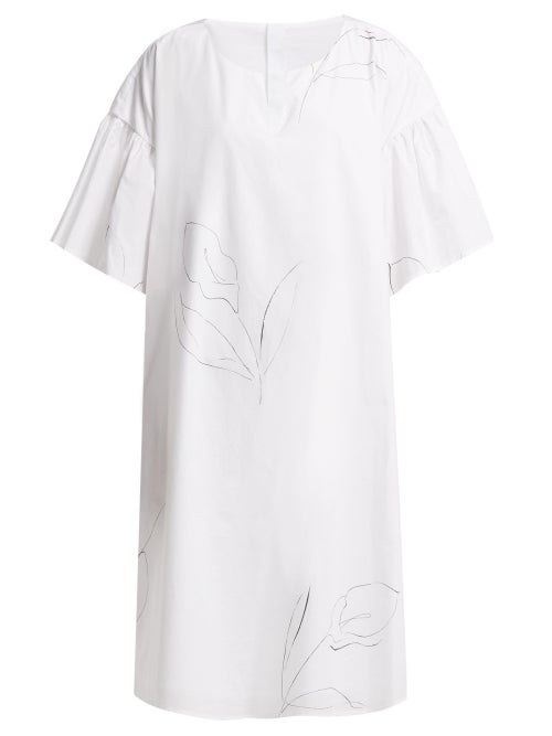 Merlette | Merlette - Cambridge-print Cotton Poplin Dress - Womens - White Print | Clouty