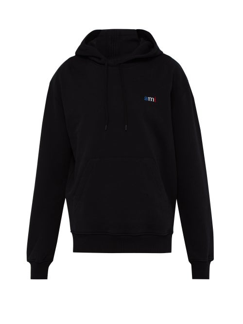 AMI | Ami - Logo Embroidered Cotton Hooded Sweatshirt - Mens - Black | Clouty
