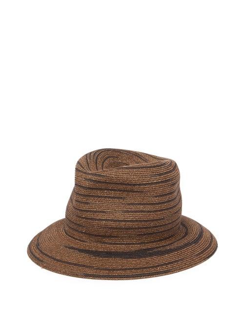 Albertus Swanepoel | Albertus Swanepoel - Bailey Straw Striped Panama Hat - Mens - Brown | Clouty