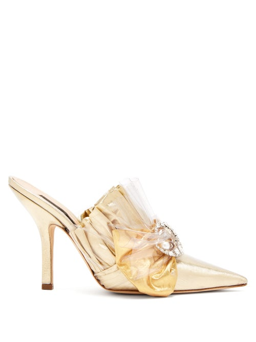 midnight 00 | Midnight 00 - Metallic Ruched Satin Mules - Womens - Gold | Clouty