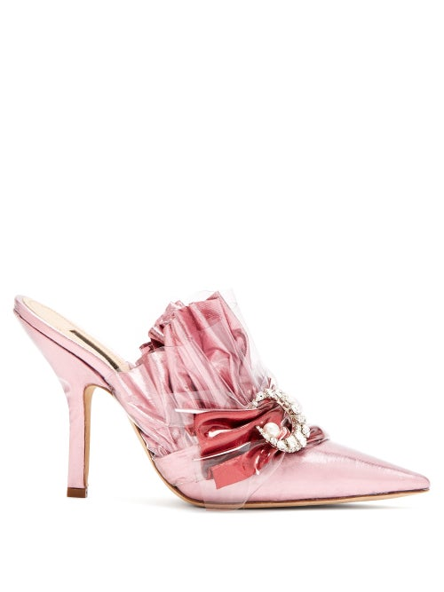 midnight 00 | Midnight 00 - Ruched Satin Point Toe Mules - Womens - Light Pink | Clouty