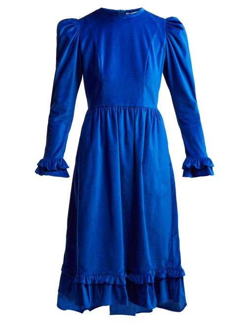 Batsheva | Batsheva - Ruffled Cotton Velvet Midi Dress - Womens - Blue | Clouty