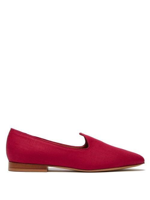 Le Monde Beryl | Le Monde Beryl - Venetian Linen Slipper Shoes - Womens - Red | Clouty