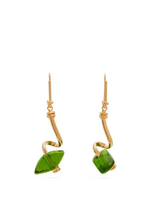Marni | Marni - Glass Bead Spiral Bar Earrings - Womens - Green | Clouty
