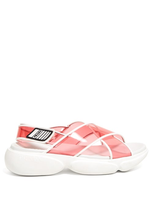 PRADA   Prada - Cloudbust Pvc Sandals - Womens - Pink Multi   Clouty