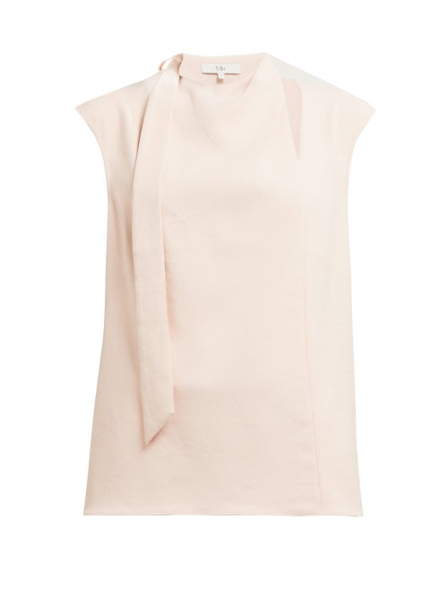 TIBI | Tibi - Chalky Drape Tie Crepe Top - Womens - Light Pink | Clouty