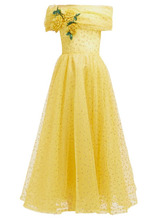 Фото Rodarte - Floral-applique Polka-dot Tulle Gown - Womens - Yellow Multi
