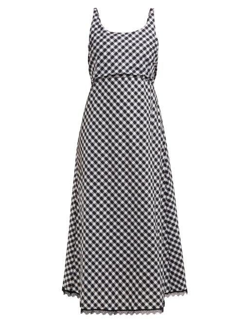 Thierry Colson | Thierry Colson - Vichy Tessa Sleeveless Open-back Midi Dress - Womens - Black Multi | Clouty
