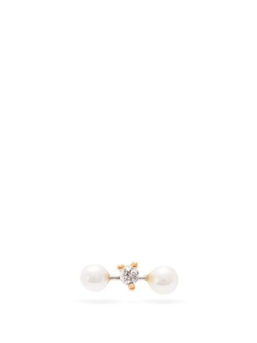 Delfina Delettrez | Delfina Delettrez - 18kt Gold & Diamond Single Earring - Womens - Yellow | Clouty