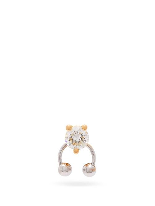 Delfina Delettrez | Delfina Delettrez - Diamond & 18kt Gold Single Earring - Womens - Yellow | Clouty