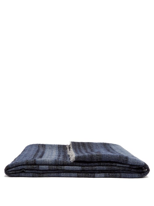 From The Road | From The Road - Rakta Striped Wool-blend Blanket - Navy | Clouty