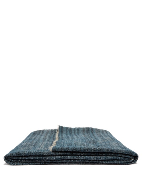 From The Road | From The Road - Rakta Wool And Cotton-blend Blanket - Denim | Clouty
