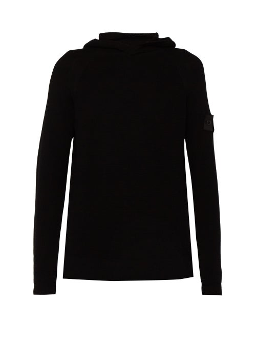 Stone Island | Stone Island Shadow Project - Ribbed Knit Cotton Hooded Sweater - Mens - Black | Clouty