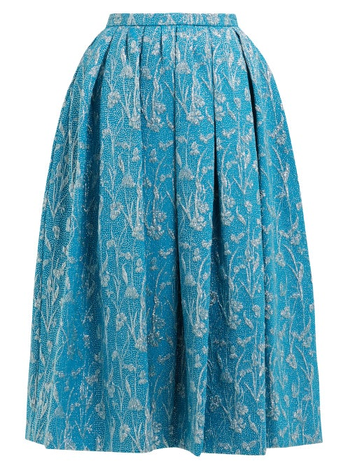 Rochas | Rochas - Floral-brocade Pleated Skirt - Womens - Blue Multi | Clouty