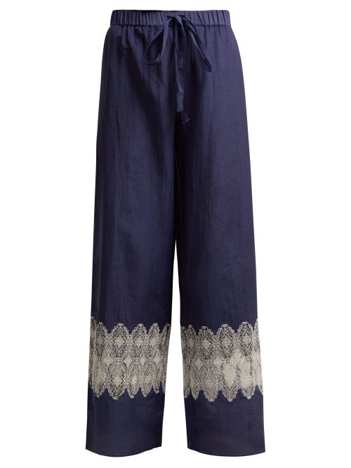 Thierry Colson | Thierry Colson - Lou Lou Lace Insert Pyjama Trousers - Womens - Navy Multi | Clouty