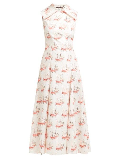 Emilia Wickstead | Emilia Wickstead - Gaia Sailboat Print Poplin Dress - Womens - Pink | Clouty