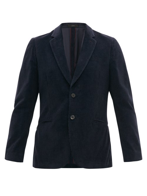 Paul Smith | Paul Smith - Single-breasted Corduroy Blazer - Mens - Navy | Clouty