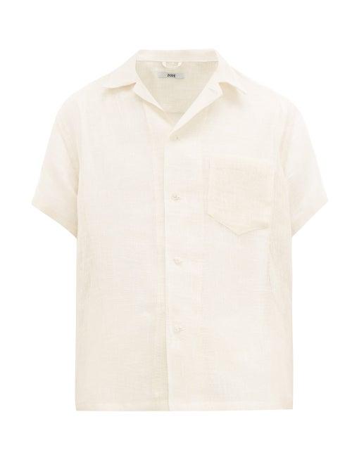 Bode   Bode - Short Sleeved Linen Shirt - Mens - Cream   Clouty