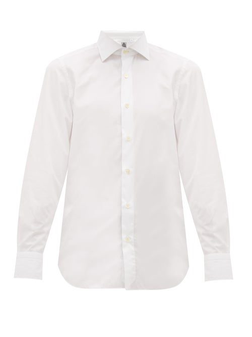 Finamore   Finamore 1925 - Seattle Washed Cotton Poplin Shirt - Mens - White   Clouty