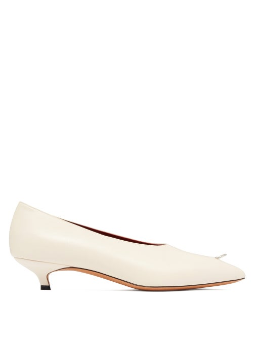 Marni | Marni - Ring-pierced Leather Kitten-heel Pumps - Womens - Cream | Clouty