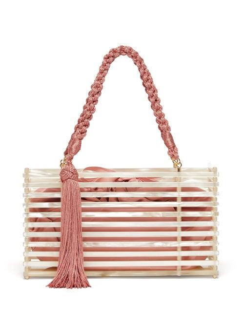 Montunas | Montunas - Guaria Tasseled Acetate Box Bag - Womens - White Multi | Clouty