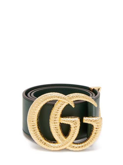 GUCCI | Gucci - GG Snakeskin-effect Logo Wide Leather Belt - Womens - Green | Clouty