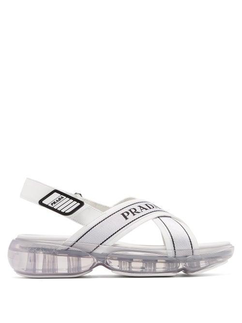 PRADA | Prada - Bubble Sole Cross Strap Slingback Sandals - Womens - White | Clouty