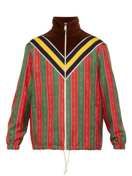 GUCCI | Gucci - Horse Bit Striped Silk Satin Jacket - Mens - Brown Multi | Clouty