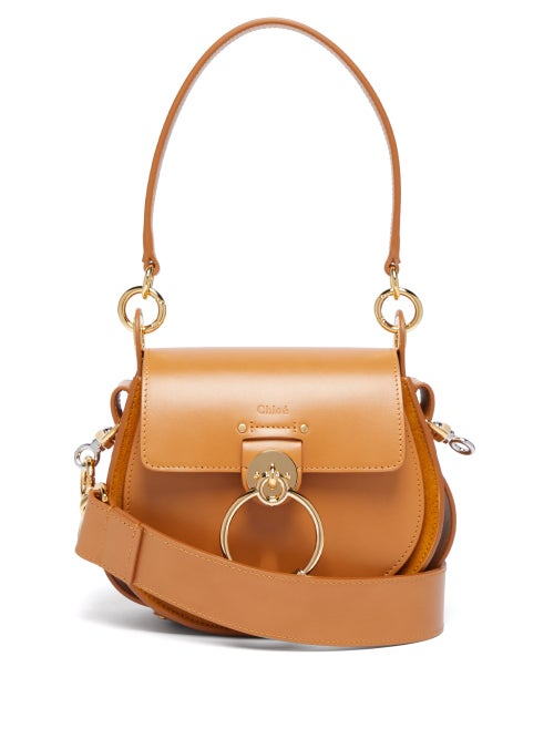Chloé | Chloe - Tess Small Leather And Suede Cross-body Bag - Womens - Amber | Clouty