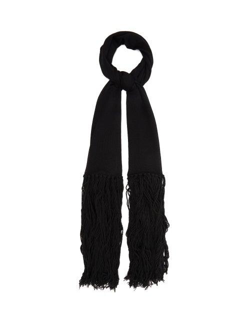 Bottega Veneta   Bottega Veneta - Tasseled Cashmere And Wool Scarf - Womens - Black   Clouty