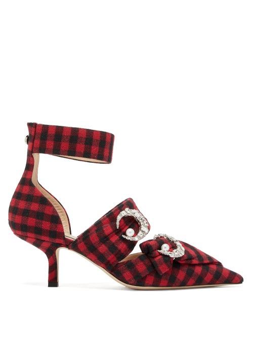 Midnight 00 | Midnight 00 - Crystal-embellished Checked Twill Pumps - Womens - Black Red | Clouty