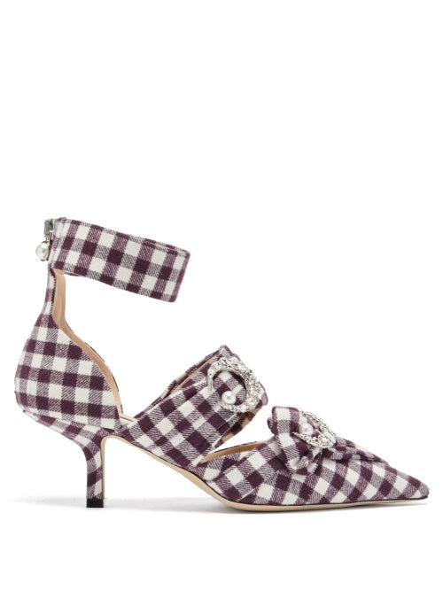 Midnight 00 | Midnight 00 - Crystal-embellished Checked Pumps - Womens - Burgundy White | Clouty