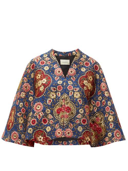 GUCCI | Gucci - Floral-brocade Cape - Womens - Blue | Clouty