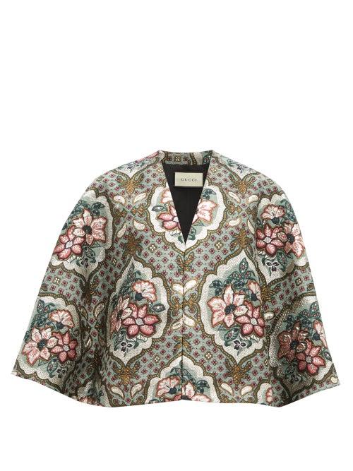 GUCCI | Gucci - Floral-brocade Cape - Womens - Grey | Clouty