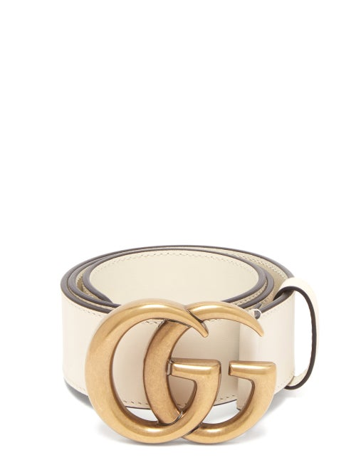 GUCCI | Gucci - GG-logo Leather Belt - Womens - White | Clouty
