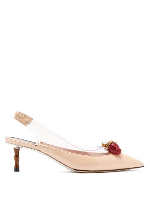 GUCCI | Gucci - Eleonor Strawberry-charm Patent-leather Pumps - Womens - Nude | Clouty