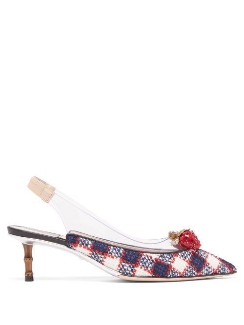 GUCCI   Gucci - Eleonor Crystal-strawberry Tweed Slingback Pumps - Womens - Navy   Clouty