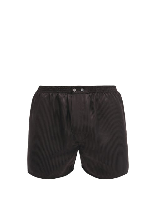 Derek Rose | Derek Rose - Woburn Satin-striped Silk Boxer Shorts - Mens - Black Multi | Clouty