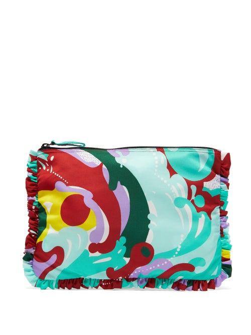 La DoubleJ | La Doublej - Meraviglia-print Ruffled Pouch - Womens - Red Multi | Clouty