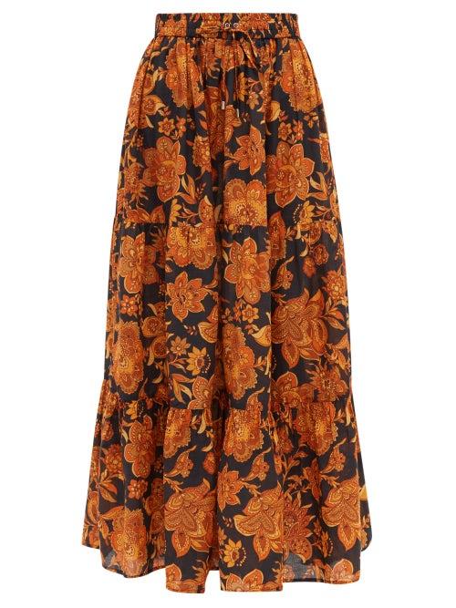 Dodo Bar Or | Dodo Bar Or - Batira Tiered Floral Print Cotton Maxi Skirt - Womens - Black | Clouty