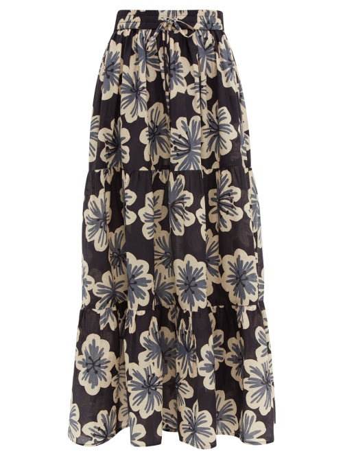 Dodo Bar Or   Dodo Bar Or - Batira Floral Print Cotton Maxi Skirt - Womens - Black Multi   Clouty