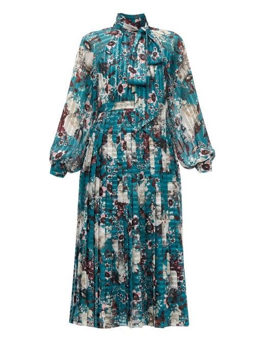 Erdem | Erdem - Helenia Eastbury-print Midi Dress - Womens - Green Print | Clouty