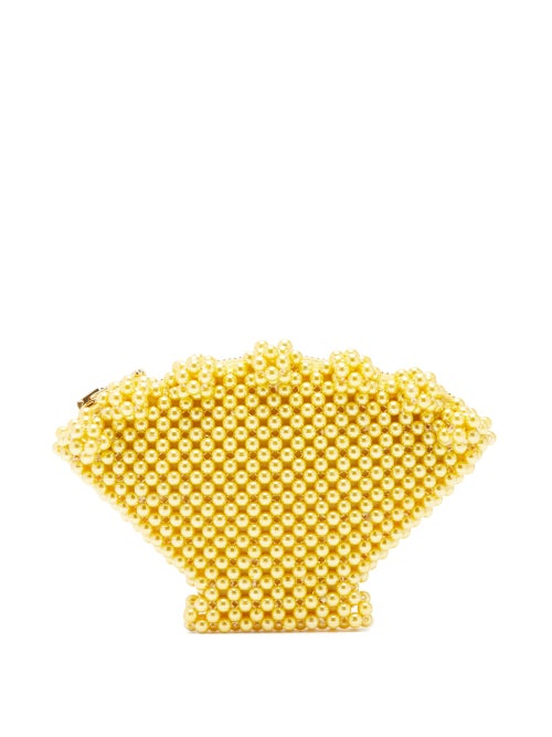 Shrimps   Shrimps - Shell Faux-pearl Purse - Womens - Yellow   Clouty