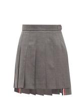 Фото Thom Browne - Pleated Wool Twill Mini Skirt - Womens - Grey Multi