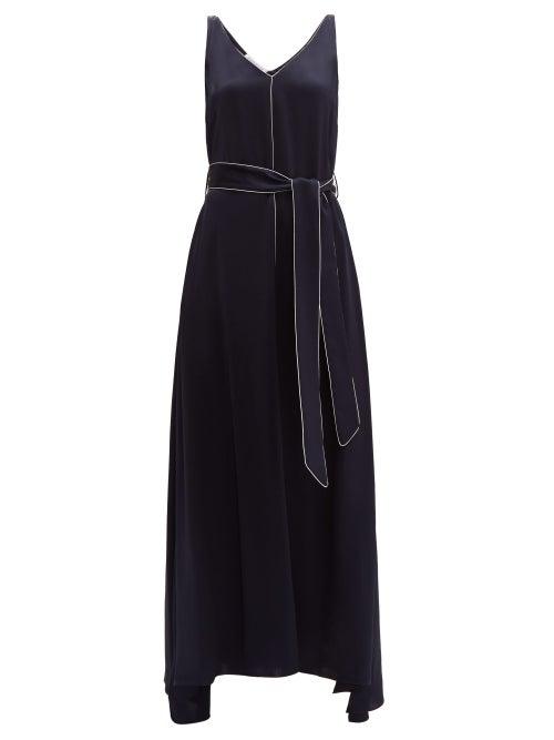 Odyssee | Odyssee - Claret V-neck Satin Dress - Womens - Navy | Clouty