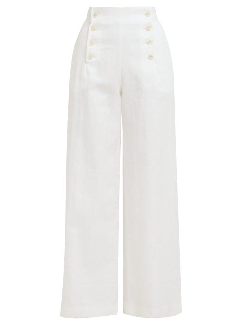 Odyssee | Odyssee - Sol Buttoned Wide-leg Trousers - Womens - White | Clouty