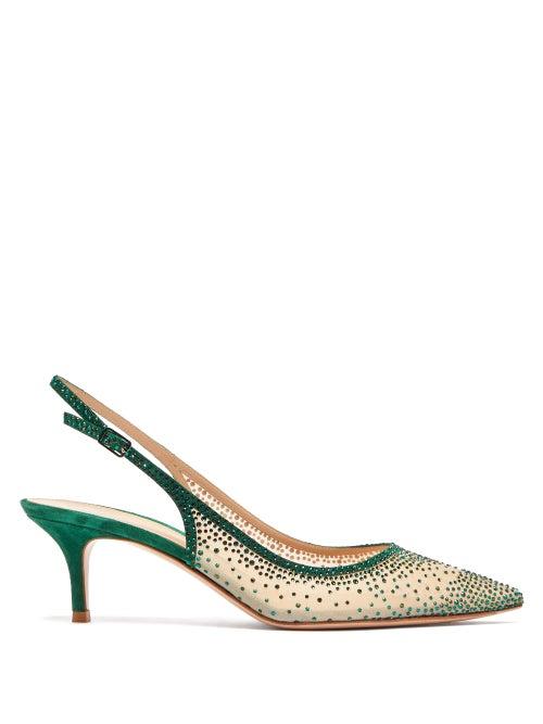 Gianvito Rossi | Gianvito Rossi - Regina 55 Crystal-embellished Slingback Pumps - Womens - Dark Green | Clouty