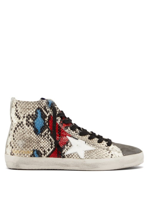 Golden Goose Deluxe Brand | Golden Goose - Francy High Top Python Effect Trainers - Womens - | Clouty